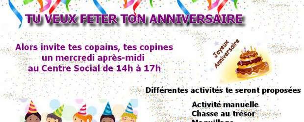 Tu veux fêter ton anniversaire? Alors invite tes copains, copines un mercredi après midi de 14h à 17h au Centre Social. L'animatrice s'occupe de toute l'organisation et différentes activités te […]