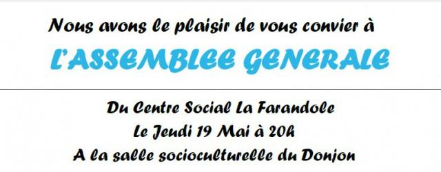 Le Centre Social organise son Assemblée Générale, jeudi 19mai, à 20 heures, à la salleSocioculturelle du Donjon. Nous invitons tous les adhérents, ainsi que toutes les personnes intéressées à participer […]