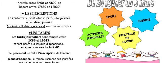 L'accueil de loisirs du Centre Social du Donjon sera ouvert du lundi 20 février au vendredi 3 mars dès 8h jusqu'à 18h30 pour les enfants à partir de 3 ans […]